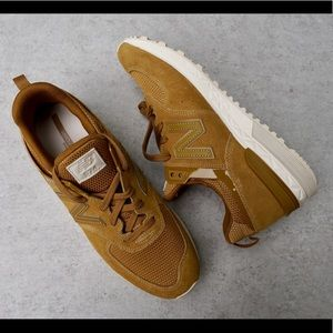 New Balance 574 Sport Tan Suede Retro Sneakers NEW